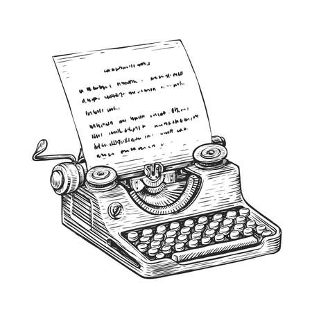 Vintage typewriter with sheet of paper. Hand drawn sketch vector illustration