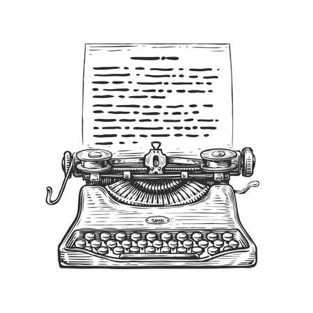 Sketch retro Typewriter. Hand drawn vintage vector illustration in engraving style