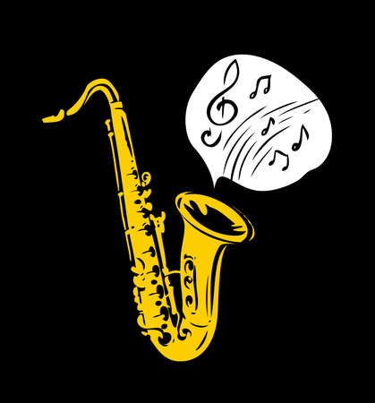 Saxophone music symbol. Jazz concept vector illustration