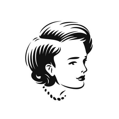 Face of beautiful woman. Beauty salon, spa, cosmetics symbol vector illustration