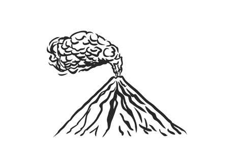 Volcano symbol sketch. Smoke before the eruption. Vector illustration