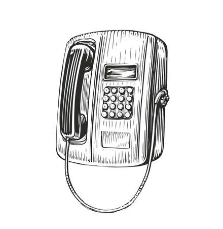 Payphone retro sketch. Public phone in vintage engraving style. Vector illustration