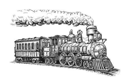 Steam locomotive transport sketch. Vettoriali