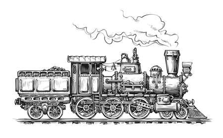Retro steam locomotive transport sketch. Vettoriali