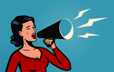Woman holding a loudspeaker shouts announcing. Ilustrace
