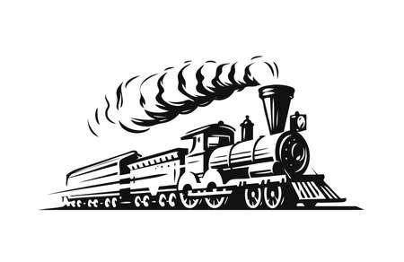 Moving retro steam locomotive. Vettoriali