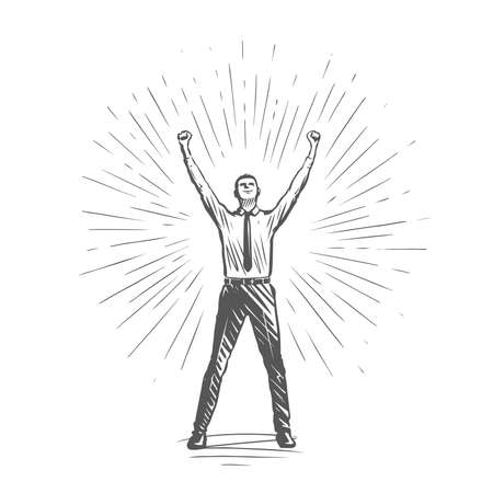Successful businessman raised his hands up. Business success, professional achievements, career growth concept vector illustration