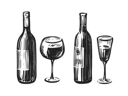 Bottle with a glass of wine. Alcoholic beverage sketch vector illustration