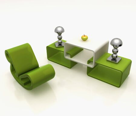 furniture in shades of green Stock Photo