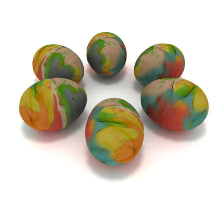 Easter eggs out of plasticine  Stock Photo