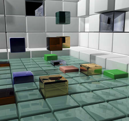 abstraction, floating cubes