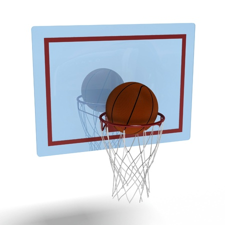 basketball in the ring direct hit Stock Photo