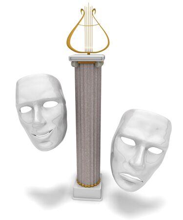 lyra and masks Stock Photo