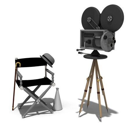 feature films: directors chairs and a camera