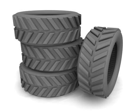 a stack of tires for wheels Stock Photo
