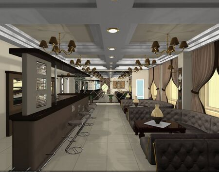 design of a stylish cafe in chocolate tones
