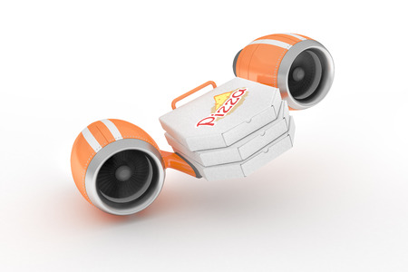 food technology: Flying on turbines pizza boxes illustrate the great speed of delivery to the customer