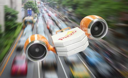negocios comida: El volar en las turbinas de cajas de pizza ilustran la gran velocidad de la entrega al cliente, a pesar de los atascos de tráfico Foto de archivo