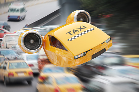 Flying on turbines taxicab illustrate the great speed of delivery the client in spite of the traffic jams