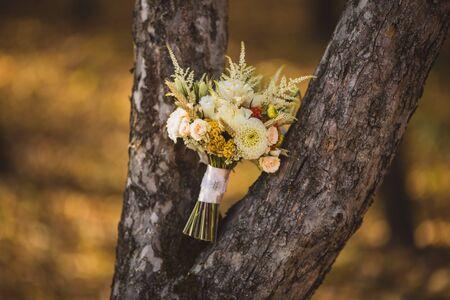 Very beautiful wedding bouquet near the tree