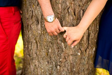 Young couple holding hands against trees and meadow in the park