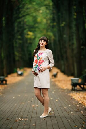 Beautiful pregnant woman is standing lovely on the yellow lawn with her hand on belly. She is enjoying walk in the autumn park.