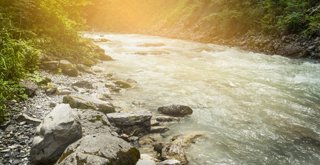 cristal: river with cristal water on sunlight nature background Stock Photo