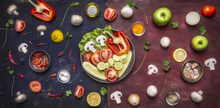 pasta: Ingredientes para cocinar variedad de pimientos legumbres de fruta de manzana setas sabor sal aceite en una mesa larga de dos tonos en la sart�n en el fondo de madera r�stica vista desde arriba