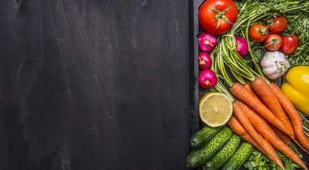 Delicious assortment of farm fresh vegetables with fresh carrots with cherry tomatoes, garlic, lemon radish, peppers, cucumbers on wooden rustic background top view border, place for text