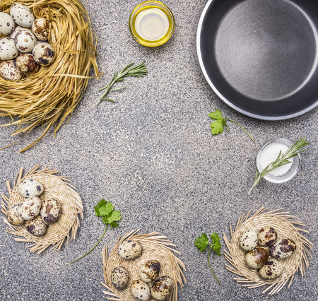 japanese quail: Ingredients for cooking fried quail eggs, oil and salt and herbs place for text,frame  on granitic rustic background top view close up