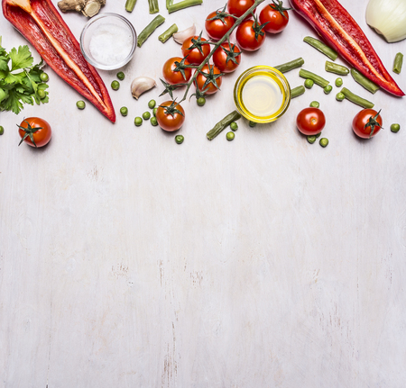 space wood: Healthy foods, cooking and vegetarian concept summer vegetables border ,place for text on wooden rustic background top view