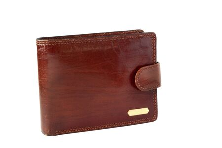 billfold: Brown leather billfold isolated on white