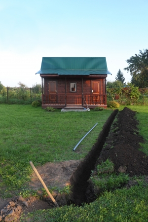 open trench: Trench in the ground and small wooden house