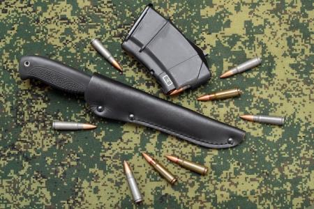 sheath: Military knife in black leather sheath, magazine and cartridges on digital camouflage backround Stock Photo