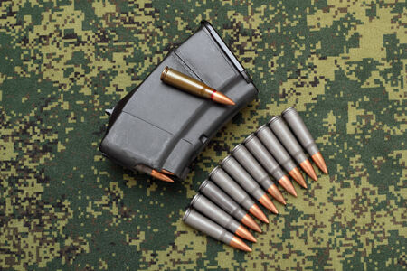 Filled magazine and eleven cartridges on digital camouflage background