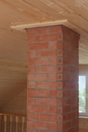 Brick chimney going straight up through the ceiling photo photo