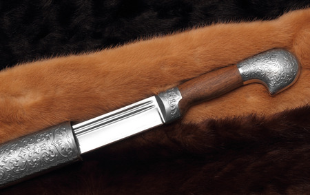 sabre: Circassian cavalry sword half-pulled from sheaths closeup photo