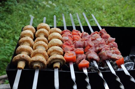 Kebab and mushrooms grilling on the skewers on the charcoals photo