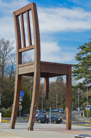 misconception: Broken chair was installed on the Place des Nations in Geneva.