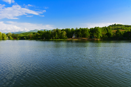 View over the big beautiful lake for rest and fishing, Ukraine