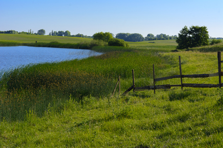 A beautiful lake for breeding fish. Magnificent view of the lake.