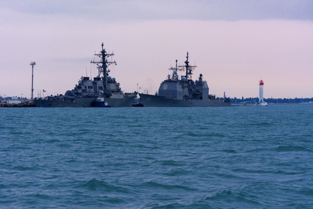 battleship: The military ship is moored in the seaport of Odessa on July 12, 2017 Editorial