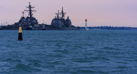 navy pier: The military ship is moored in the seaport of Odessa on July 12, 2017 Editorial
