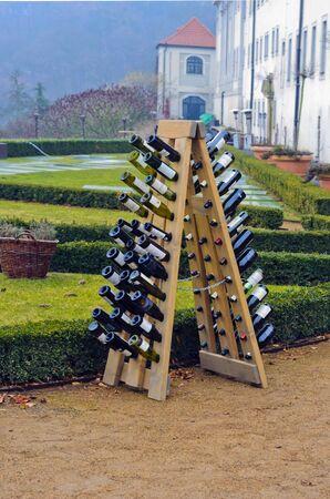 drunken: Wine bottles stacked in a pyramid Editorial