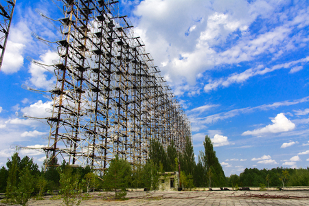 Large field of the looted antenna of the military object of the PRO of the USSR. Dead military unit. Consequences of the Chernobyl disaster Stock Photo