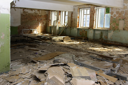 Destroy and plunder shop of the plant, which worked in the defense industry of Ukraine. Robbery and an act of vandalism. September 2017 版權商用圖片