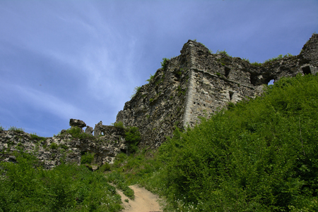 Ancient ruins of the castle of the town of Khust (Dracula Castle). a huge and powerful castle that performed a defensive function and played an important role in many battles. Western Ukraine, Europe Banco de Imagens