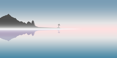 Landscape before dawn. In the center is a lone cross. Lonely mountain side. Everything drowns in the morning mist and is reflected in the water. Illustration