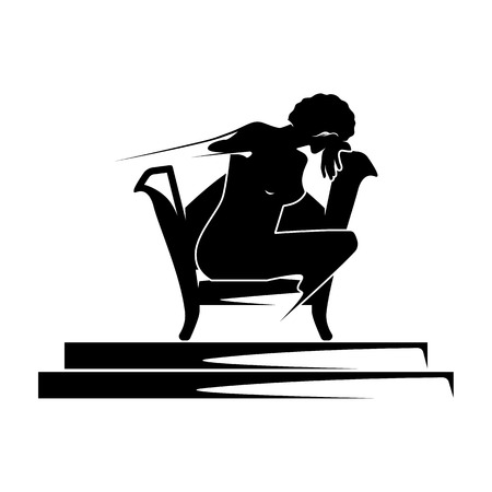 A lonely girl, a woman sits in a chair and cries.