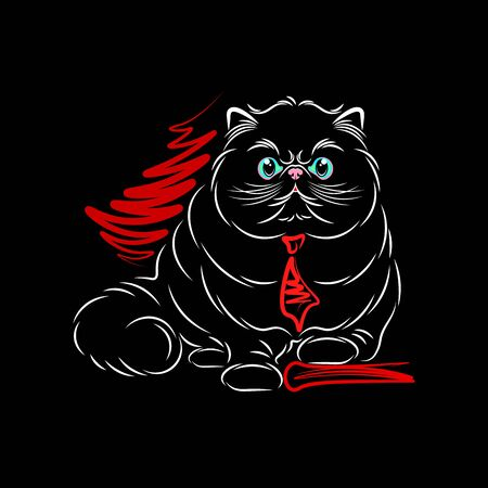 Persian cat cartoon on the boss. The cat is drawn in lines. The background is black. Illustration